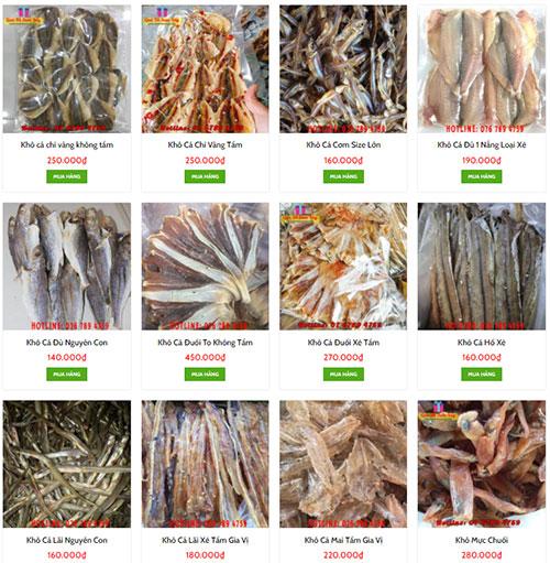Các hải sản khô tại shop Quà Tết Sum Vầy
